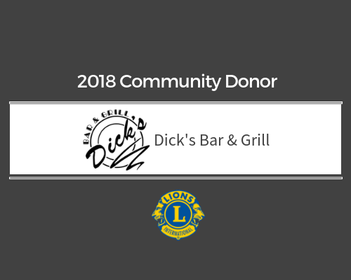 Lions 2018 Donor - Dick's Bar & Grill