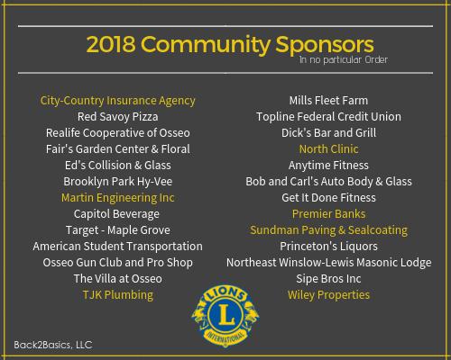 2018 Lions Roar Sponsors