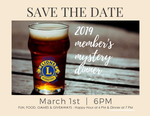 2019 Member's Mystery Dinner