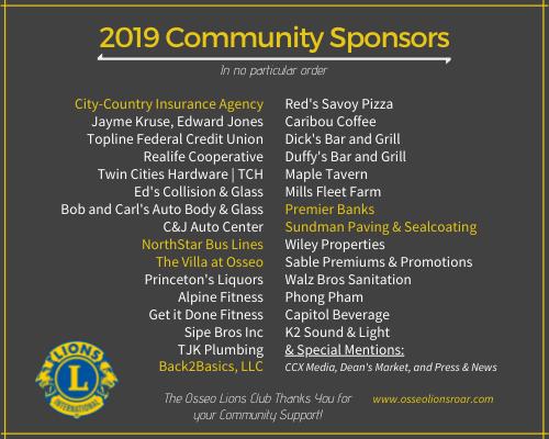 2019 Osseo Lions Roar Sponsors