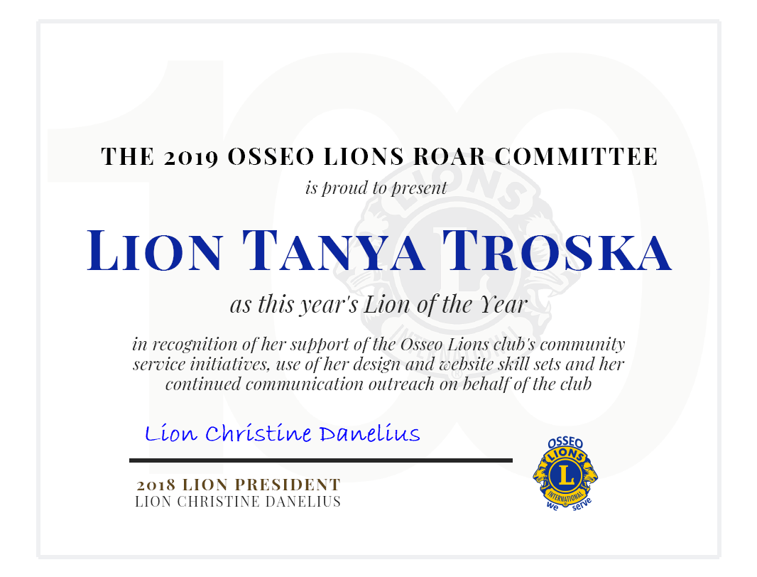 2019 Lion of the Year - Tanya Troska