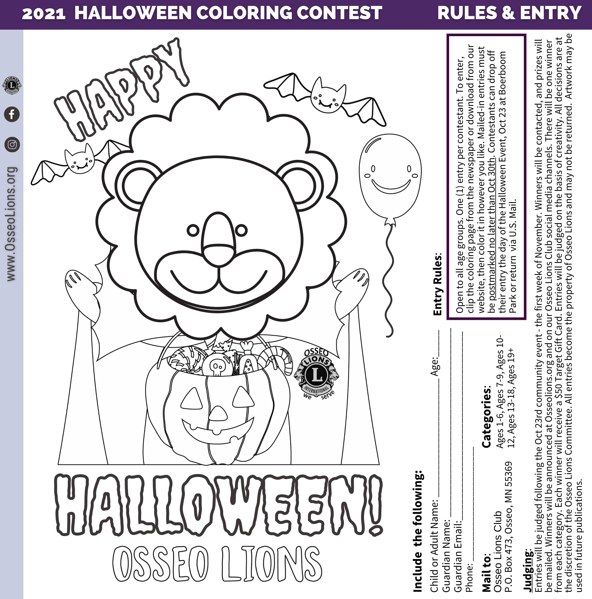 2021 Lions Halloween Coloring Contest